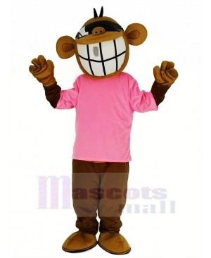 Cool Funny Monkey with Pink T-shirt Mascot Costume Animal