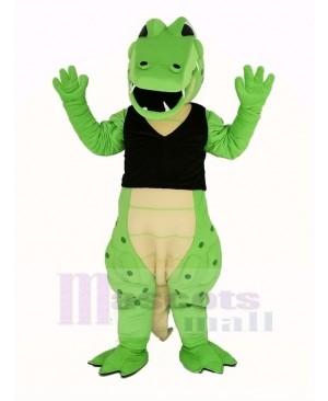 Power Green Crocodile in Black Vest Mascot Costume Animal