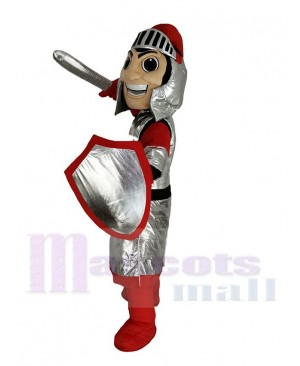 Smiling Silver Knight Mascot Costume People