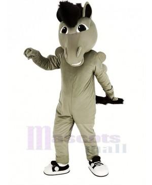 Grey Power Mustang Horse Mascot Costume