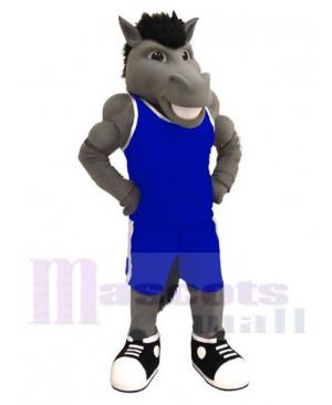 Power Grey Mustang Mascot Costume Animal