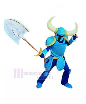 Blue Knight with Shovel Mascot Costume People