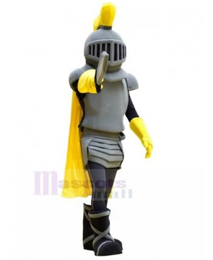 Grey Knight with Yellow Cape Mascot Costume People