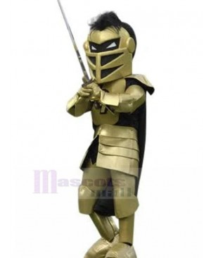 Spartan Knight with Golden Armor Mascot Costume People