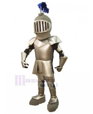 Medieval British Knight in Silver Armor Mascot Costume People