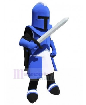 Blue Knight with Corinth Helmet Mascot Costume People