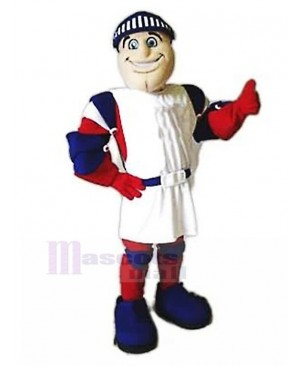 Smiling Templar Knight in White Tabard Mascot Costume People