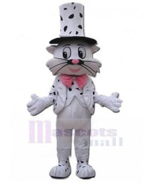 Magician White Cat Mascot Costume Animal in White Suit