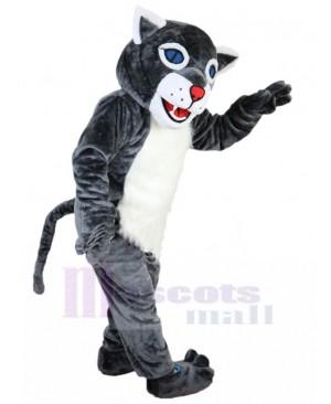 Cheerful Grey Wildcat Mascot Costume Animal with Blue Eyes