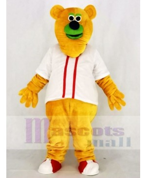 Fresno Grizzlies Parker T. Orange Bear with White T-shirt Mascot Costume
