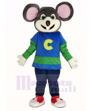 Chuck E. Cheese Mascot Costume Mouse with Striped Shirt
