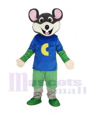 Chuck E. Cheese Mascot Costume Mouse in Blue T-shirt without Hat