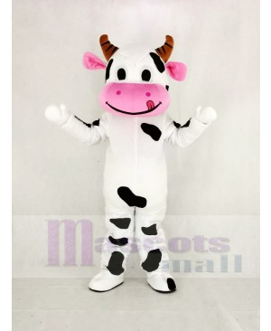 Cute Cow with Pink Mouth Mascot Costume Animal
