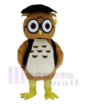 Brown Doctor Owl in Black Vest Mascot Costume