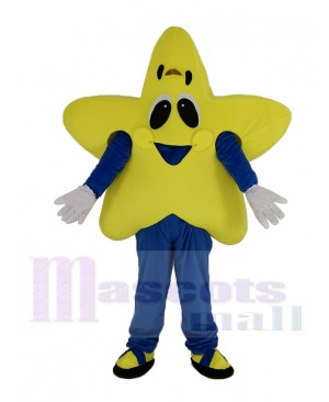 Smiling Yellow Twinkle Star Mascot Costume