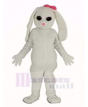 White Rabbit with Pink Bow Mascot Costume