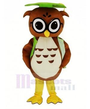 Brown Owl with Green Graduation Cap Mascot Costume Animal