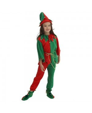 Kid Cosplay Dress Suit Boy Girl Performance Uniform Green Christmas Elf Clothes Santa's Costume Clown Clothes Halloween